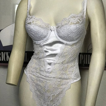 34C Sexy Padded Push Up Bodysuit / Vintage Victorias Secret White Lace Lingerie / Exotic Hi Cut Thong Negligee / White Bridal Lingerie Teddy