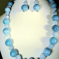 Amazonite Necklace and Heart Shaped Aquamarine Gemstone Sterling Silver and Earring* Set