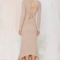 Nasty Gal Kozmic Ribbed Knit Maxi Dress - Tan