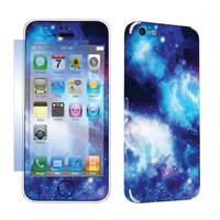 SkinGuardz Protective Vinyl Decal Sticker Skin for Apple iPhone 5C with Screen Protector - (Blue Space)