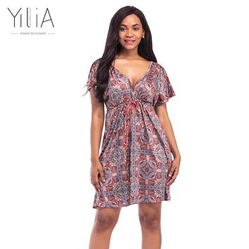 Yilia 2017 Dress Plus Size 4XL Summer Short Sleeve Deep V African Floral Print A Line Beach Sundress Backless Sexy Party Dresses