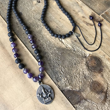 Crown Chakra Aromatherapy Mala Necklace with Ganesh Pendant
