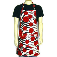 Zebra Stripes and Roses, Full Kitchen Apron, Black White and Red