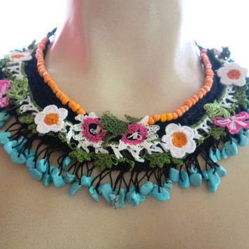 OOAK Berber Girl- One of a kind Textile Art Hand crocheted Necklace with Turquoise nuggets and hand made laces.