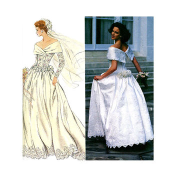 1990s WEDDING DRESS PATTERN Fit & Flare Bridal Ball Gown Wide Wrap Collar Bust 34 36 38 Simplicity 8243 UNCuT Vintage Sewing Patterns