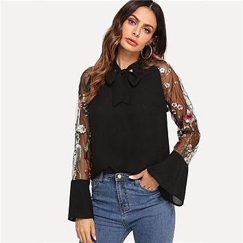 COLROVIE Green Embroidery Sheer Mesh Tie Neck Vintage Blouse Women 2019 Black Long Sleeve Elegant Shirt Ladies Tops And Blouses