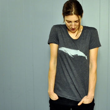 Clothing // Women's Tshirt  : Animal WHALE Tshirt - Soft & Flattering Ladies Animal Tshirt - Humpback Whale Tshirt
