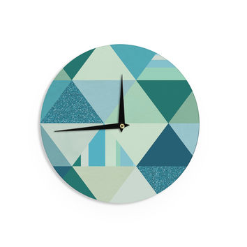 "Noonday Design ""The Triangle Blues"" Geometric Blue Wall Clock"