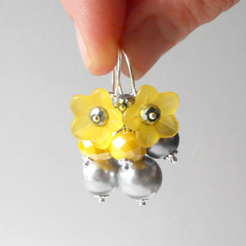 Yellow Earrings Pearl and Flower Dangles Yellow and Gray Beaded Jewelry Lucite Flower Earrings Handmade Gifts for Her Under 20 Bead Clusters