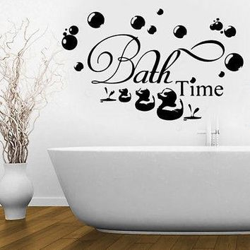 Bath Time Bubbles Soak Relax Wall Stickers Removable Vinyl Decal Bathroom Home Art Decor