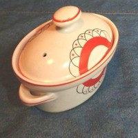 Vintage Hall Orange/Black Art Deco MINI Casserole Dish