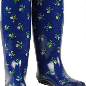 Notre Dame Fighting Irish Womens Navy All-Over Print Rubber Rain Boots-Notre Dame Fighting Irish-NCAA- Gotta Go to Mo's