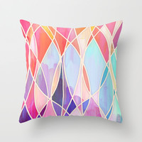 Purple & Peach Love - abstract painting in rainbow pastels Throw Pillow by micklyn | Society6
