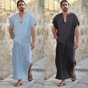 Mens Ethnic Robes Loose Striped Short Sleeve Thin Vintage Dress Kaftan