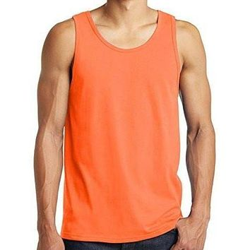 Yoga Clothing for You Mens Neon Orange Tank Top Shirt