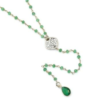 Green Onyx and Sterling Silver Rosary Chain Y Necklace