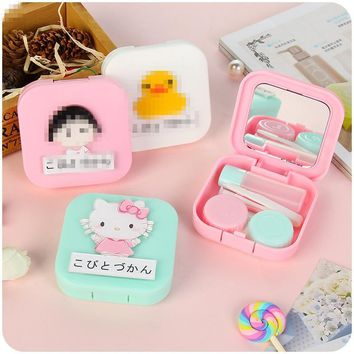 Cute Hello Kitty Doraemon Travel Necessity Glasses Box/Case for Contact Lenses Eyes Care Kit Holder Container Girls' Gift ID