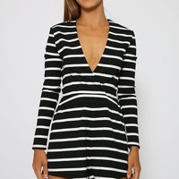 Isla - Before The Dawn Playsuit - Black Stripe
