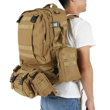 50L Outdoor Backpack Nylon Waterproof Assault Army Military Tactical.