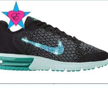 Custom Crystal Bedazzled Women Black Jade Nike Air Max Sequent 2