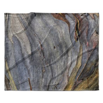 "Susan Sanders ""Milky Wood"" Gray Brown Fleece Throw Blanket"