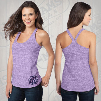 Monogram Eggplant Heather T-Back Tank Top  Font shown INTERLOCKING in navy