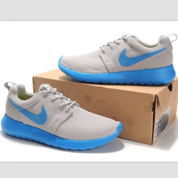 """NIKE"" roshe Trending Fashion Casual Sports A Simple yet Powerful Style Nike Shoes Grey (Blue hook soles)"
