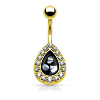Crystal Paved Teardrop Gold Belly Button Ring with Mother of Pearl