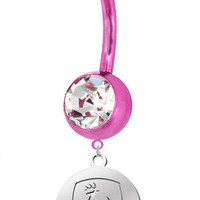 John Deere Charm On Double Gem Belly Button  - Pick Your Color