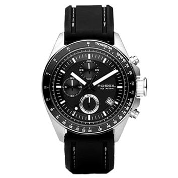 Fossil CH2573 Men's Decker Black Dial Silicone Rubber Strap Chronograph Watch