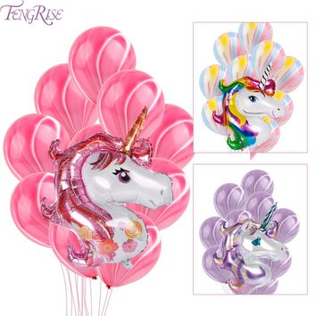 FENGRISE 11Pcs Unicorn Colors Foil Balloons Birthday Party Latex Purple Balloon For Helium Air Ball Wedding Party Decoration