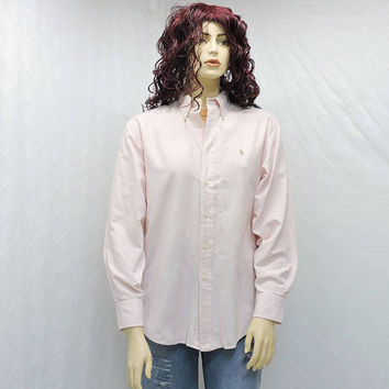 Ralph Lauren oxford shirt / size L / 13 / 14 / vintage 80s white / pink / striped button down cotton shirt / 1980s Lauren boyfriend shirt