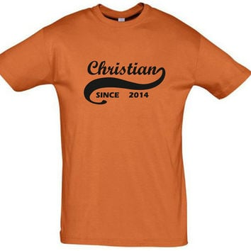 Christian since 2014 (Any Year),christian gift,gift ideas,humor shirts,humor tees,gift for her,gift for him,gift for sister,gift for brother