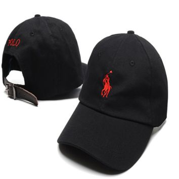 Black & Red Polo Embroidered Unisex Adjustable Cotton Sports Cap Hat