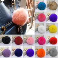 [Crazy Rabbit fur ball plush key chain for car key ring Bag Pendant car keychain ztl = 6044988743