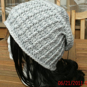 knit  Hat - The Stovepipe Slouch in Silver and Gray - Handmade Crocheted Hat