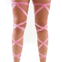 Pair of RaveReady Baby Pink Elastic Ribbon Leg Wraps : Rave Fluffies Wraps