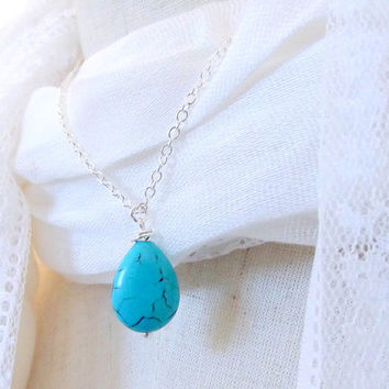 Sister necklace  Teardrop necklace - Sterling chain - Turquoise silver jewelry