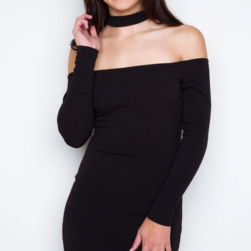 Cassie Off-The-Shoulder Choker Dress