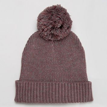 ASOS Knitted Pom Beanie In Mixed Knit at asos.com