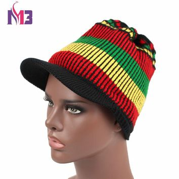 Fashion Unisex Casual Women Men Knitted Visor Rasta Hat Winter Warm Crochet Hat Jamaican Beanie Cap Bob Marley Rasta Reggae Hat