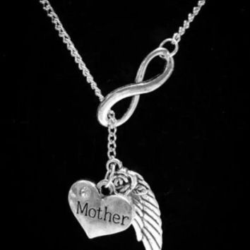 Infinity Guardian Angel Mother Mom Wing In Memory Heaven Lariat Style Necklace