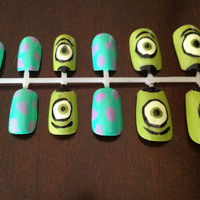 Monsters Inc Nails by TheArtsyGinger on Etsy