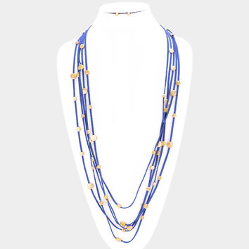 Blue & Gold round disc station multi-strand suede necklace