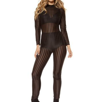 Roma RM-3405 Semi-Sheer Striped Mesh Jumpsuit