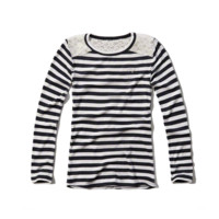 striped lace trim ribbed tee
