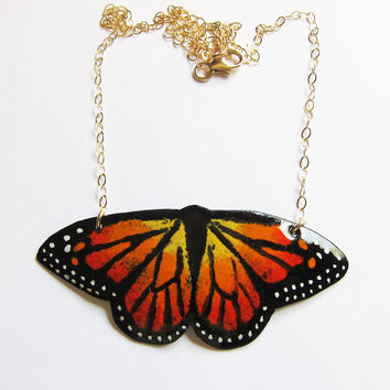 Orange Enamel Butterfly Necklace - Statement Jewelry