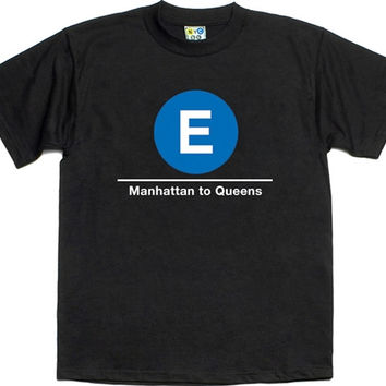 "E Train T-shirt ""NYC SUBWAY LINE"""