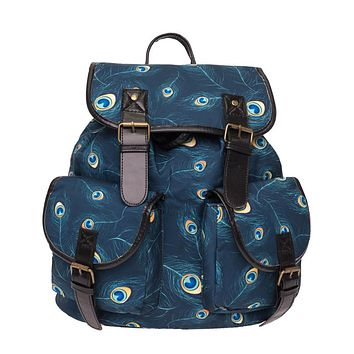 2017 Fashion foreign trade peacock feather FEATHER PEACOCK retro Girls Backpack backpack