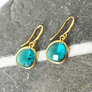 Deep Aquamarine Drop Earring in Gold - Dangle earrings - Bridesmaid gift - Bridal Jewelry - Wedding Jewelry - Bridesmaid jewelry
